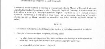 (DOC) Ministerul Educației interzice participarea elevilor în lucrările agricole