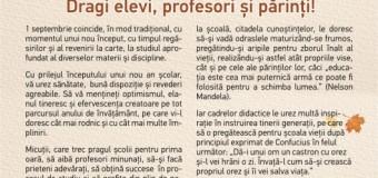 Felicitarea ministrului Educației la început de an școlar