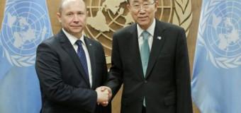 Valeriu Streleț s-a întâlnit cu Secretarul General al ONU, Ban Ki-moon, la New York