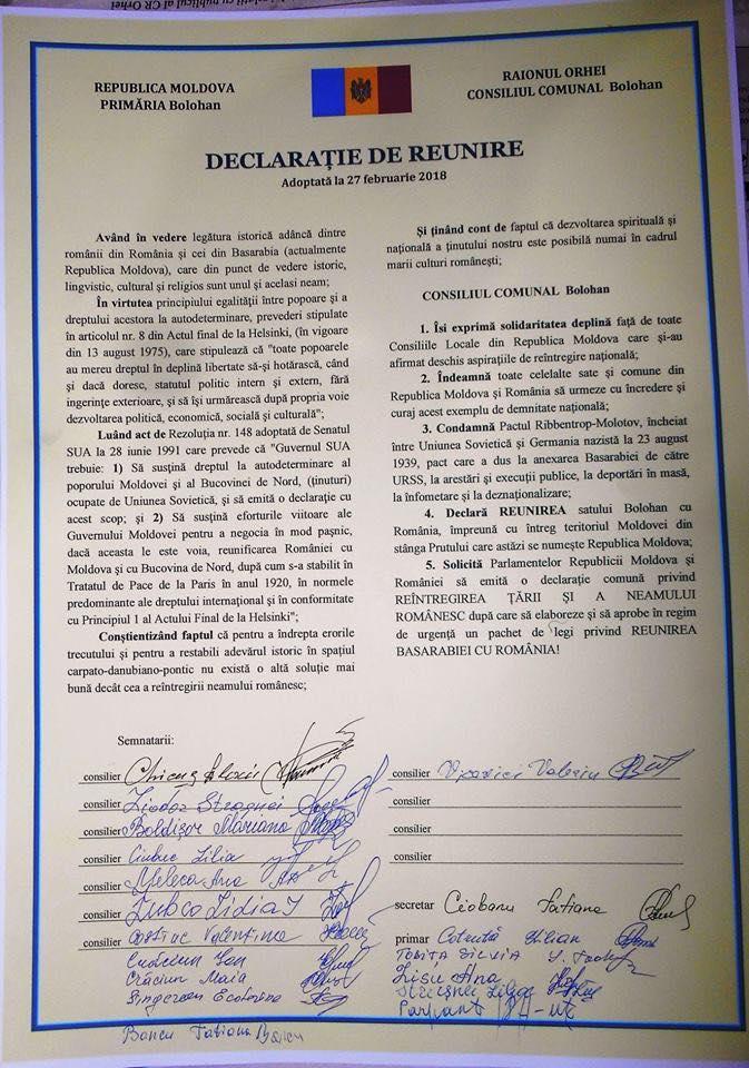 70 de localități din Republica Moldova au semnat pentru Unirea cu România