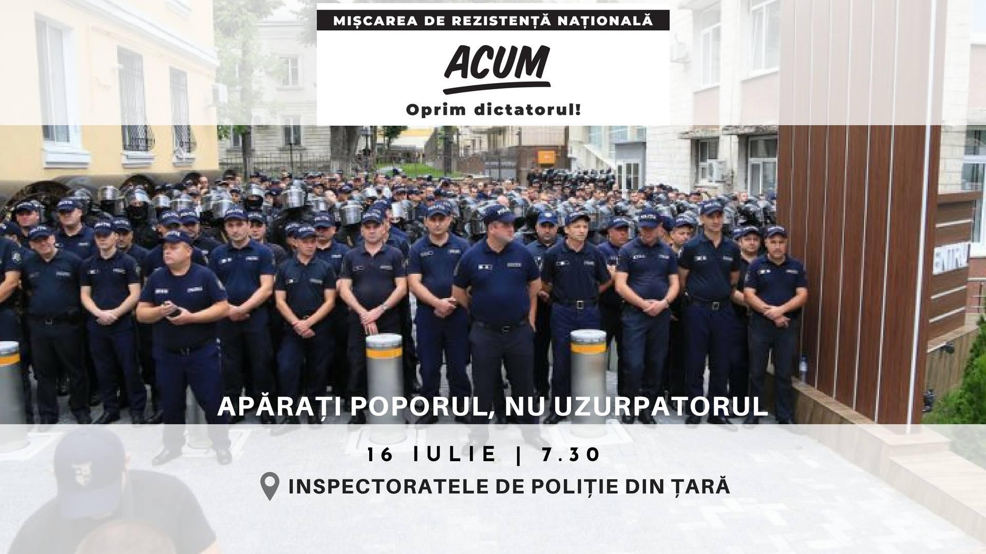 """Mișcarea de Rezistența Națională """"ACUM"""" – la """"Fulger"""": """"Domnilor polițiști, fiți cu poporul!"""""""
