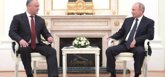 Igor Dodon la întrevedere cu Vladimir Putin. Despre ce au discutat