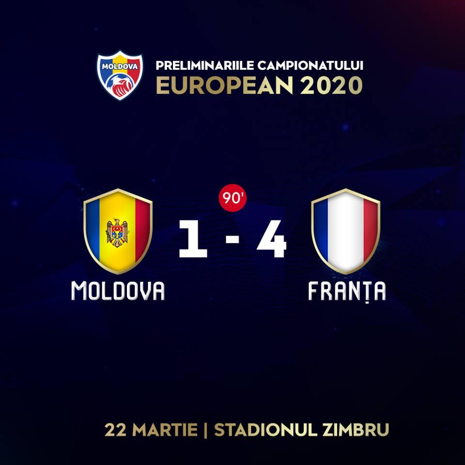 Naționala Moldovei a pierdut meciul cu Franța, marcând un singur gol