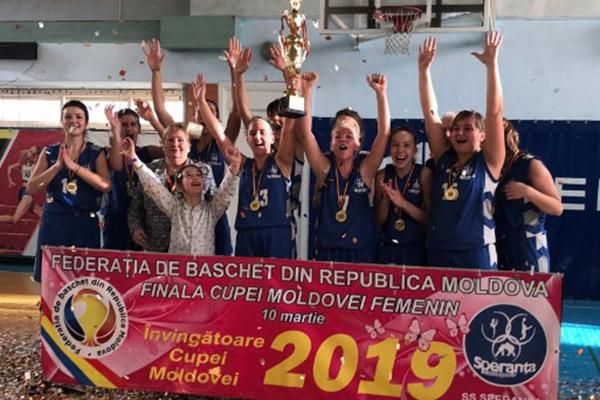 """Echipa feminină a Școlii Sportive """"Speranţa"""" a cucerit Cupa Moldovei la baschet"""