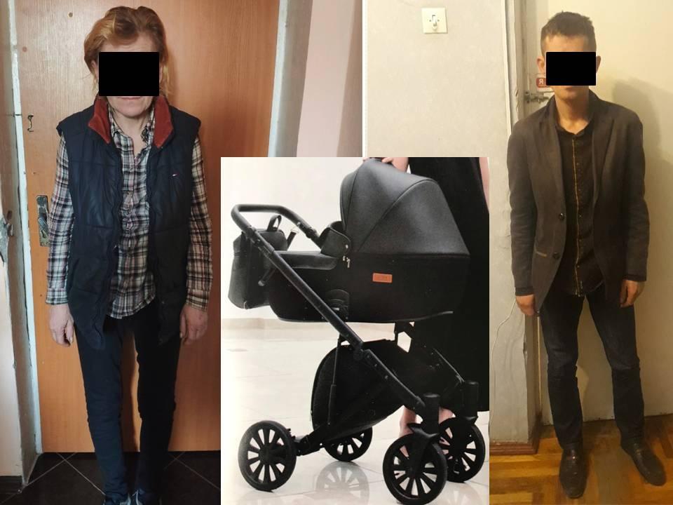 Un cărucior din scara unui bloc de locuit din Chișinău – sustras de doi indivizi