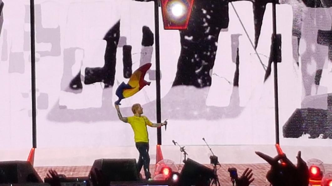 (FOTO) Ed Sheeran, îmbrăcat în tricoul naționalei României! A făcut spectacol pe Arena Națională din București