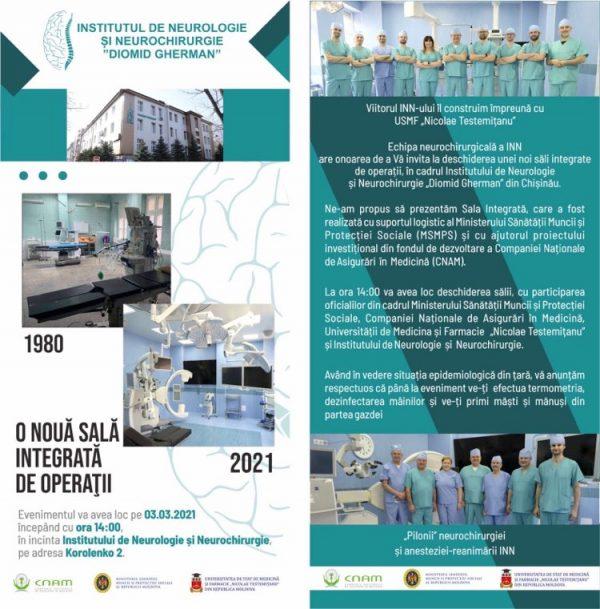 La Institutul de Neurologie și Neurochirurgie a fost inaugurată o nouă sală, dotată cu aparataj medical de ultimă generaţie